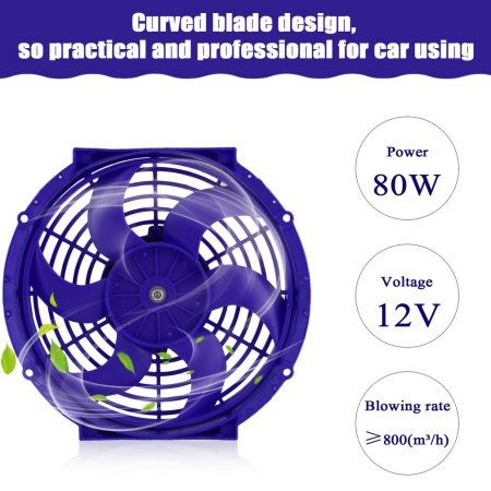 "10/"" INCH ELECTRIC AUTOMOTIVE RADIATOR COOLING 12v FAN SLIM CURVED BLADE"