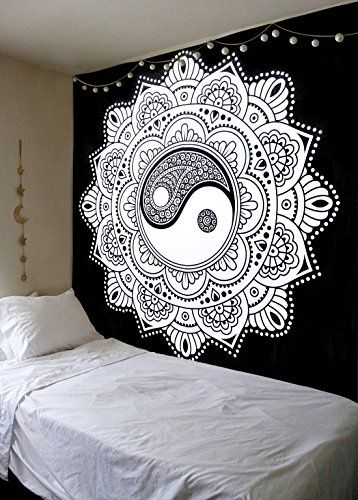 Indian Yin Yang Tapestry Hippie Cotton Throw Bedspread Dorm Decor Wall Hangings