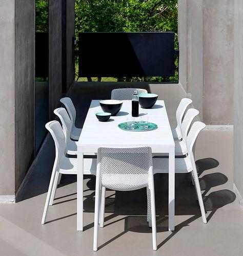 Set Giardino Tavolo Sedie.Nardi Rio 140 Table Extendable Up To 210 Cm With Stackable Bit