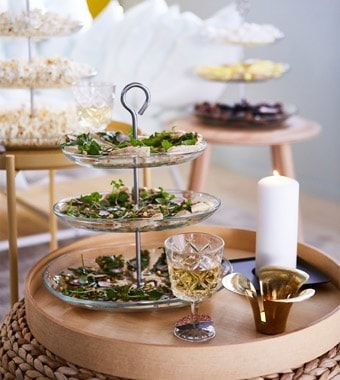 Use Several Space Saving Three Tier Serving Platters For Snacks And Nibbles Place Them On Side Tables And Stools Around The Livin Side Table Decor Snacks Ikea