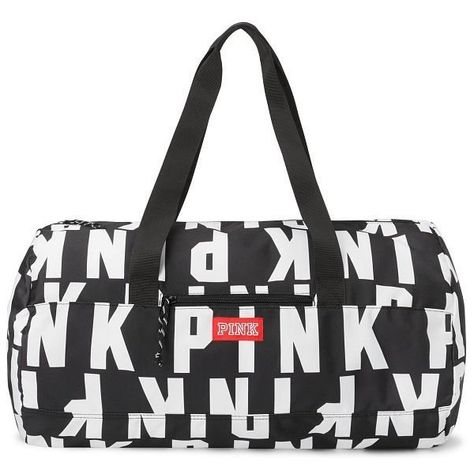 f95e149fa796 Victoria s Secret Pink Friday Duffle Tote Black White All Over Logo ( 28) ❤  liked on Polyvore featuring bags