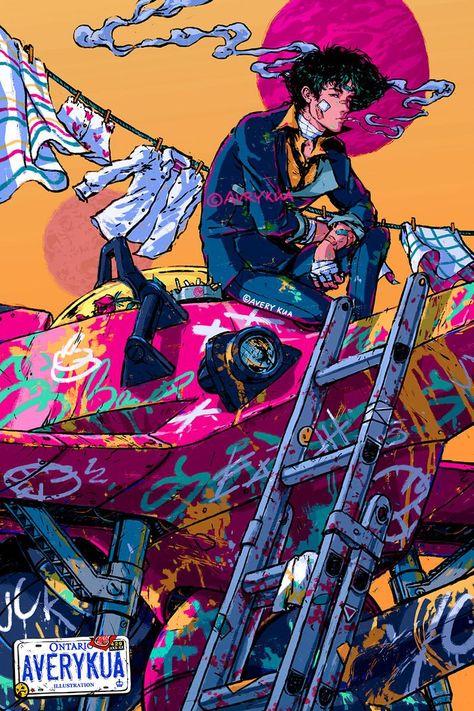 Manga Anime, Art Manga, Anime Art, Art And Illustration, Cowboy Bebop Wallpapers, Cyberpunk Kunst, Cyberpunk Tattoo, Cyberpunk 2077, Cowboy Bepop