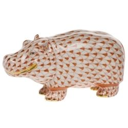 Herend Hand Painted Porcelain Figurine Hippo Rust Fishnet Gold Accents.