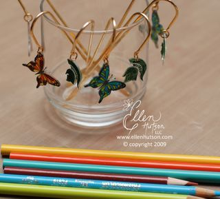 Bookmarks - butterflies are stamped using Brilliance ink and colored in with Prismacolors - this was done by a child, and turned out beautifully!  ************************************************   Ellenhutson - #shrink #plastic #butterfly #bookmark #crafts - tå√