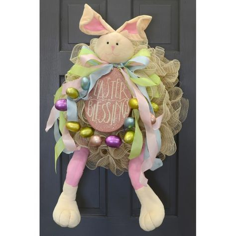 Easter Blessings Bunny Wreath made with plush Easter bunny head and legs
