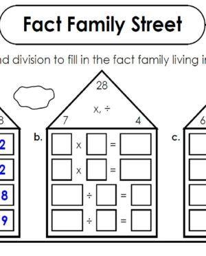 Fact Family Houses Fact Family Worksheet Family Worksheet First Grade Math