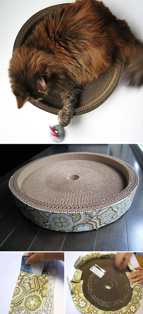 DIY CAT BED / SCRATCHER PAD :: Corregated Cat Scratcher & Bed Tutorial :: Made from a box, a toilet paper roll, some fabric & glue. Click for the how-to & pics. | #catbed #diycatbed #diycatscratcher