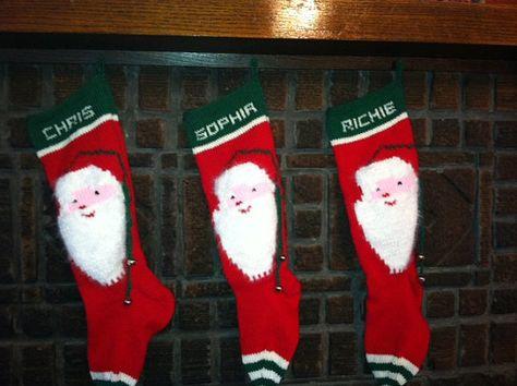 Personalized Hand Knit Santas Face Christmas by NanasKnits on Etsy, $125.00