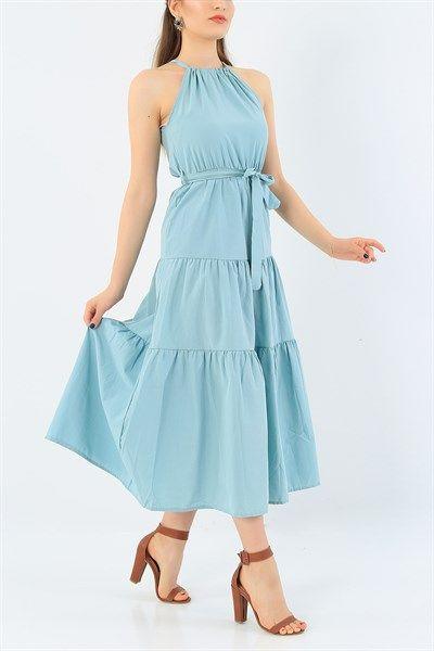 44 95 Tl Su Yesili Yakasi Baglamali Viskon Elbise 37875 Modamizbir 2020 Elbise Elbise Modelleri Elbise Tarzlari