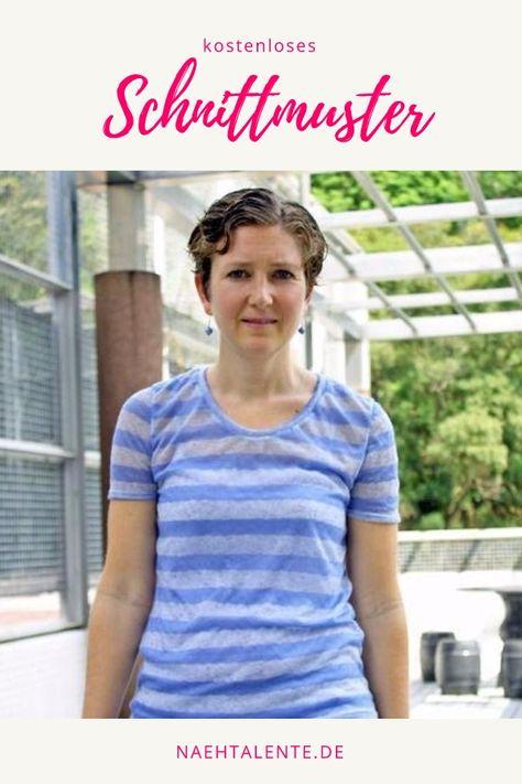 9afed344ece298 Kostenloses Schnittmuster T-Shirt kurzarm für Damen ❤ klassischer Schnitt ❤  körpernah ❤ Rundhals ❤