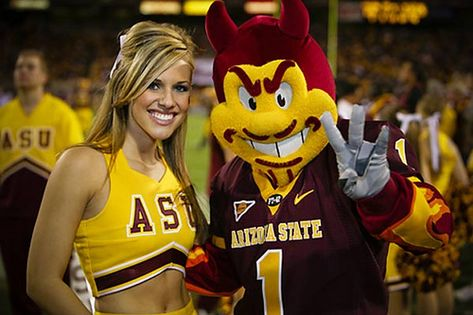Sparky the Sun Devil...and friend.
