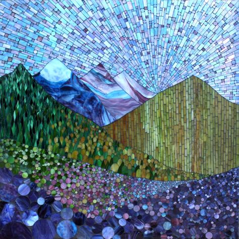 """Mountain Spring, stained glass mosaic on 36"""" x 36"""", 2012 by Kasia Polkowska, Boulder, Colorado"""