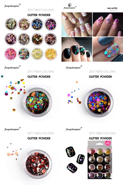 Visit To Buy Fengshangmei 12 Bottles Nail Art Decorations Small Round Holographic Laser Paillettes Mix Color Glitter Nails Nail Manicure Nail Art Decorations