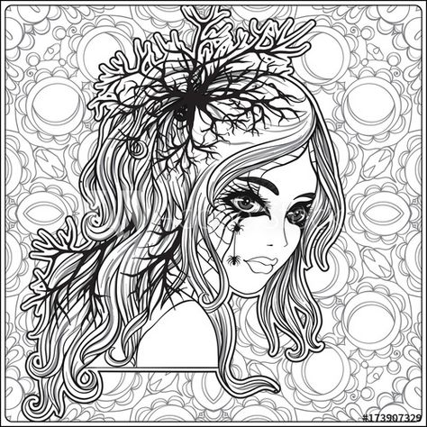 Portrait Of A Young Beautiful Girl In Halloween Or Day Of The Dead Coloring Page Adobe Stock Halloween Coloring Pages Skull Coloring Pages Halloween Coloring