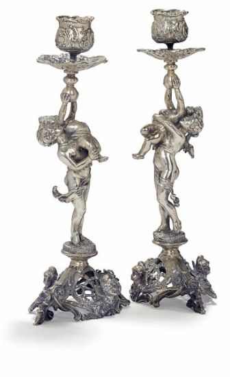 Pair of 19th silver Rococo French