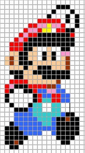 Schema Mario Jump Plus Perles Hama Crochet Pixel Perle Hama Mario