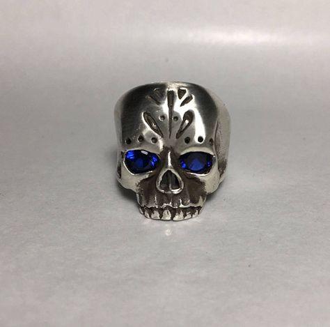 Blue Swarovski Crystal Solid .925 Silver Skull Ring Handmade