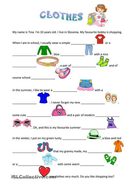 Clothes English Lessons For Kids Learning English For Kids English Worksheets For Kids Worksheets for learning english