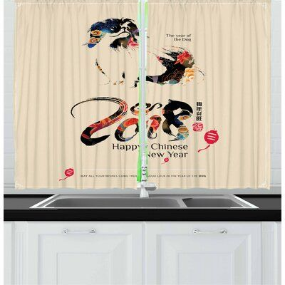 East Urban Home Year Of The Dog 2 Piece Kitchen Curtain Set In 2020 Kitchen Curtain Sets Kitchen Curtains Curtain Decor