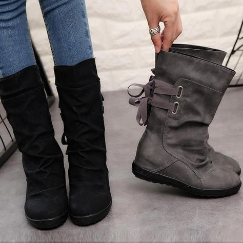 Women's Shoes Belt Buckle In The Boots After The Straps Flat Martin Boots #womensfallfashioncasualgray
