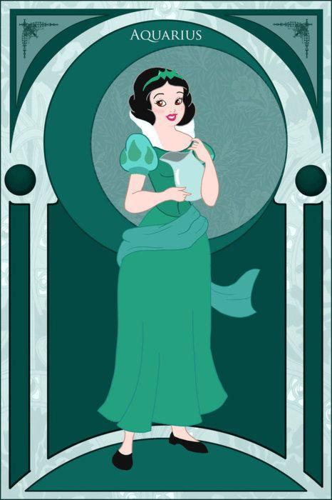 Disney Princess Zodiac - Snow White, Aquarius. I think Horoscopes are stupid, but this blew my mind. I'm an Aquarius and my fav princess is Snow White. Crazy.