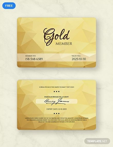 Gold Membership Card Template Free Pdf Word Psd Apple Pages Illustrator Publisher Membership Card Member Card Gym Membership Card