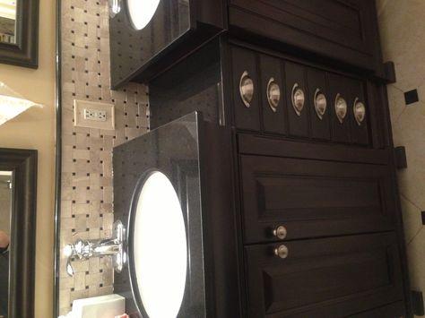 Fav Ikea hack to date--Helmer cabinet between vanities
