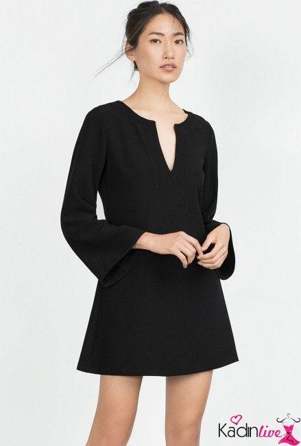 Zara Kadin Bell Siyah Uzun Kollu V Yaka Mini Elbise Modelleri Kadinlive Com Mini Elbise Moda Stilleri Mini Elbiseler