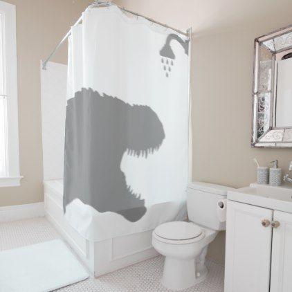 T Rex Dinosaur Shadow Silhouette Funny Head Shower Curtain