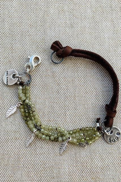 Waxed Polyester Bracelet Green Garnet Stone Bracelet