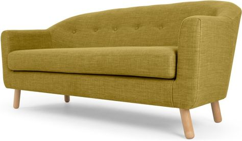 Lottie 3 Seater Sofa, Olive Green | Orange sofa, Yellow sofa