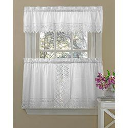 Housley Ornate Elegance Poly Cotton Embroidered Tailored Swag 70 Kitchen Curtain Kitchen Curtains Curtains Decor