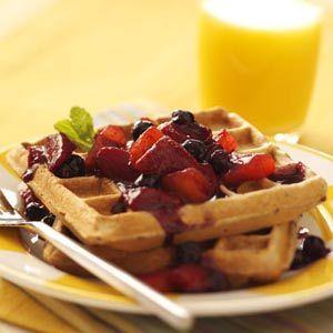 Waffles with Peach-Berry Compote fayettevillearkansas #wafflerecipes #brunchrecipes #breakfastrecipes #brunchfoods #brunchideas #breakfastideas #mybestrecipe #recipe30