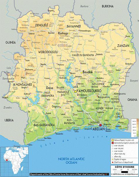 Elfenbenskysten Geografiske Kort Over Elfenbenskysten Dansk