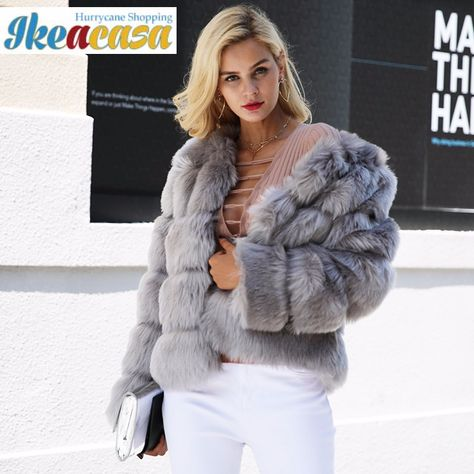 Cheap faux fur coats women, Buy Quality faux fur coat directly from China fluffy faux fur coat Suppliers: Simplee Vintage fluffy faux fur coat women Short furry fake fur winter outerwear pink coat 2017 autumn casual party overcoat