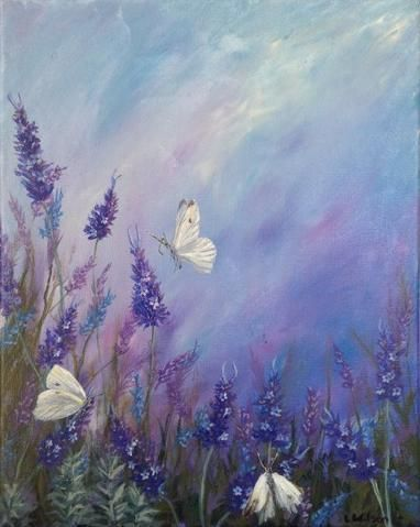 Lavender In Summer Acrylic Painting Of Flowers And White Butterflies By Goldstarwork Artist Laura Wilson Butterfly Painting Spring Painting Flower Painting