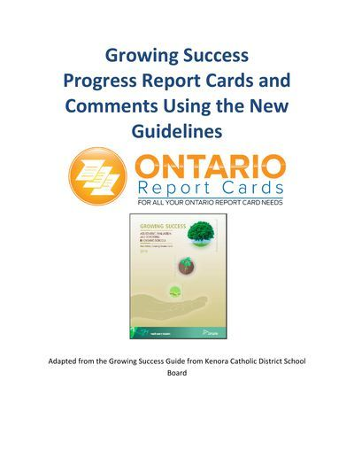Ontario Report Card Comments Using the Growing Success Document - sample progress report