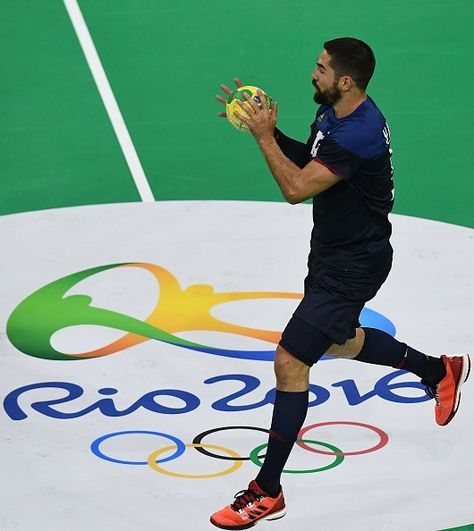 #RIO2016 France's Nikola Karabatic controls the ball during a Men's Handball training session at the Future Arena at the Olympic Park in Rio de Janeiro ahead...