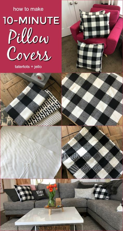 How to make 10 minute pillow covers for spring - so easy to make and changes the whole look of a room! How to make pillow covers. Pillow Covers are an EASY and inexpensive way to change your room up for different seasons and holidays! Sewing Hacks, Sewing Tutorials, Sewing Crafts, Sewing Tips, Sewing Ideas, Fabric Crafts, Sewing Basics, Sewing Patterns Free, Free Sewing