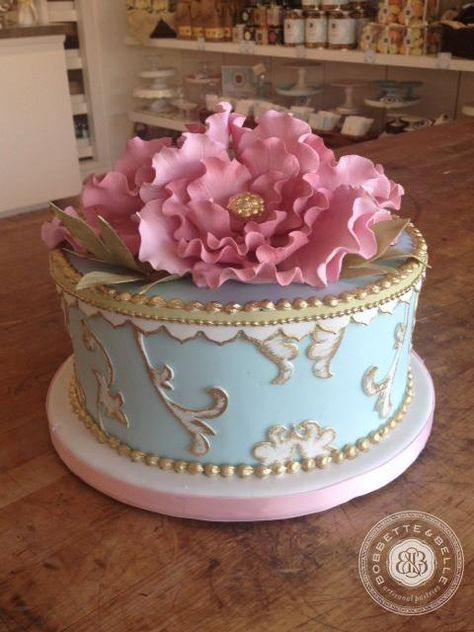 Pretty Jeweled Pink Peony Tiffany Blue Little Cake