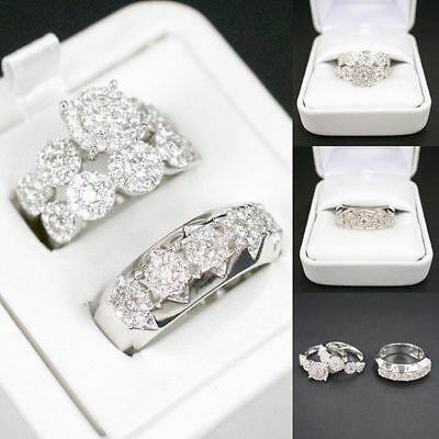 Ebay Ad His Her Engagement Wedding Band Ring Trio Set Round Diamond 14k White Gold Ov In 2020 Wedding Ring Bands Diamond Wedding Bands White Gold Diamond Engagement