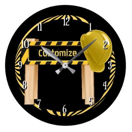 Round Construction Road Sign Wall Clock Zazzle Com Wall Signs Wall Clock Clock