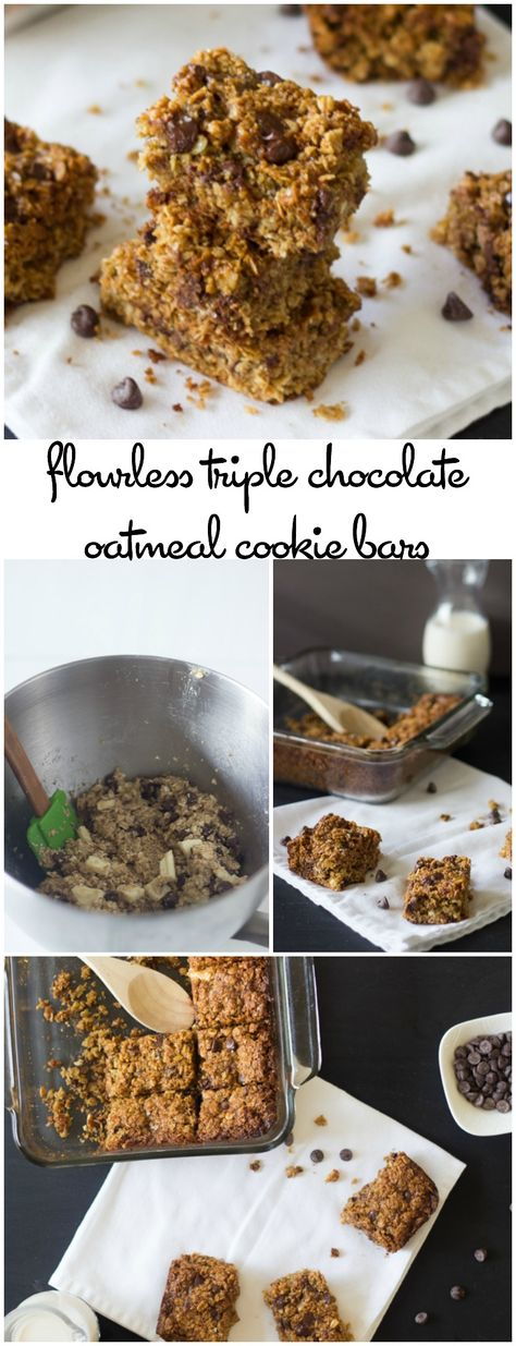 These Triple Chocolate Oatmeal Cookie Bars are chewy, delicious, addictive and made with NO flour and NO butter!