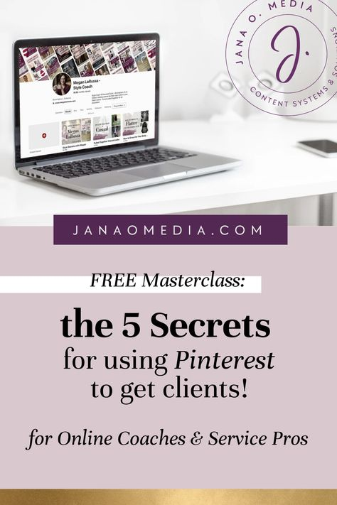 Getting Clients with Pinterest for Business - Free masterclass for online coaches and service provid