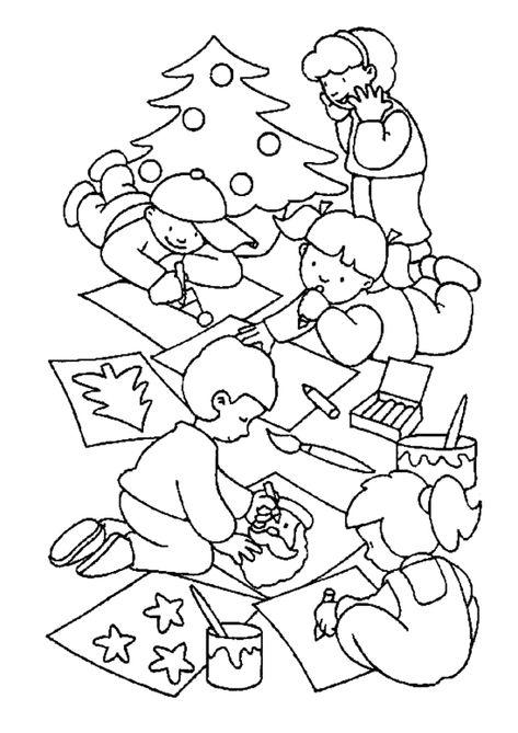 Dessin A Colorier D Enfants Dessinant Pour Le Pere Noel
