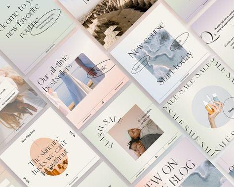 Gradient Pastel Instagram Post Template Pack, Canva Social Media Template, Aesthetic Feed Brand Kit