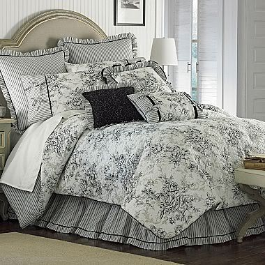 Fl French Toile King Comforter Set, Black And Cream Toile Queen Bedding