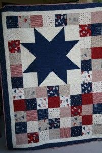 Vintage 4th of July Patriotic Quilt Hand Made Quilt Americana Red White Blue Star Pattern Signed 1976  Fits Queen Bed