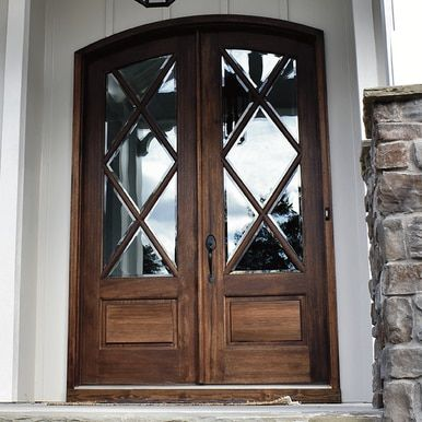 Miranda 7 Lite Arch Top Double Entry Door Double Entry Doors