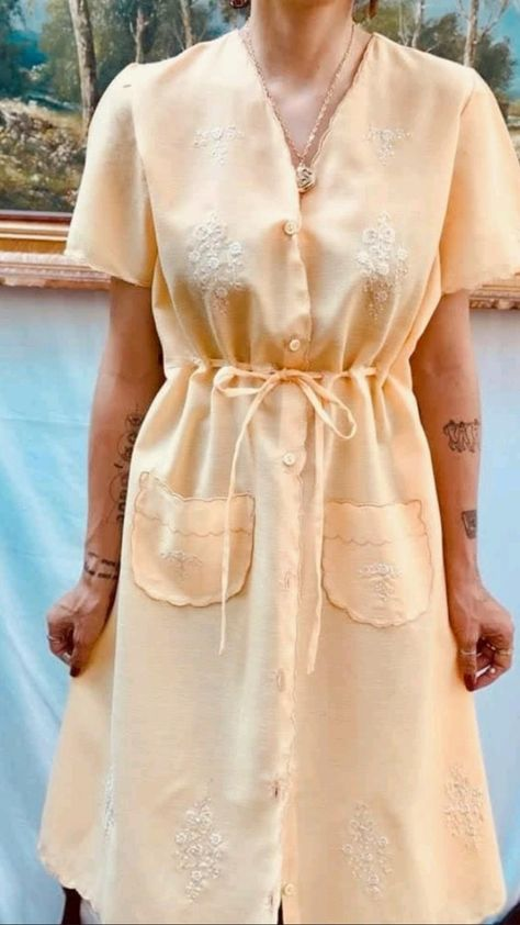 Vintage Yellow Spring Dress Outfit